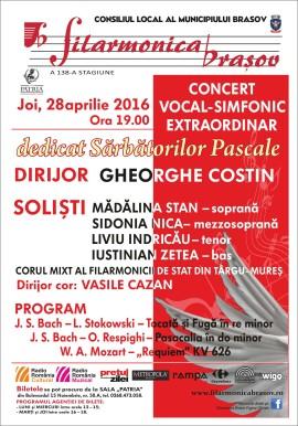 Concert simfonic extraordinar Filarmonica Brasov Paste 2016